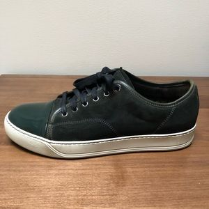 Lanvin Green Suede Sneaker with patent cap toe 8